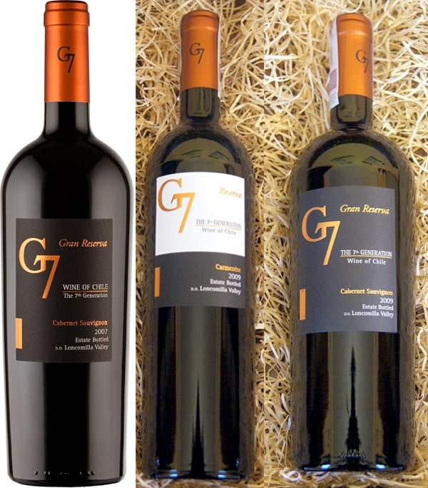 Rượu vang Chile G7 Clasico (thiết kế chai dành cho dòng vang đỏ)